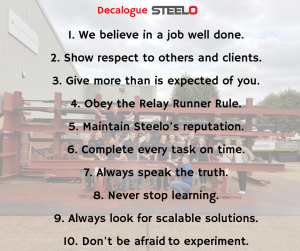Steelo Decalogue - the core values we stand for