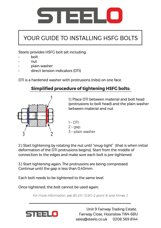 HSFG - Steelo guide how to install HSFG bolts